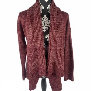 Forever 21 Sweater Long Maroon Knitted Cozy